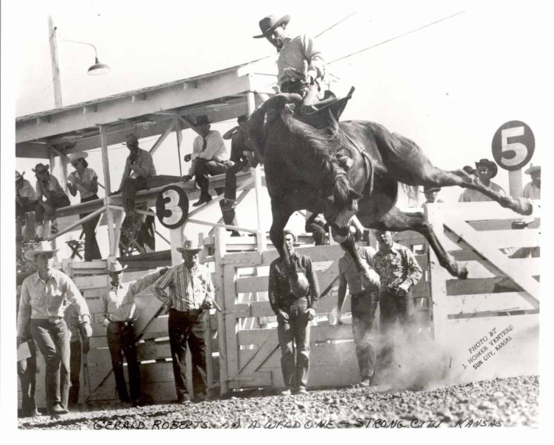 Rodeo photo of Geral Roberts on bucking bronco