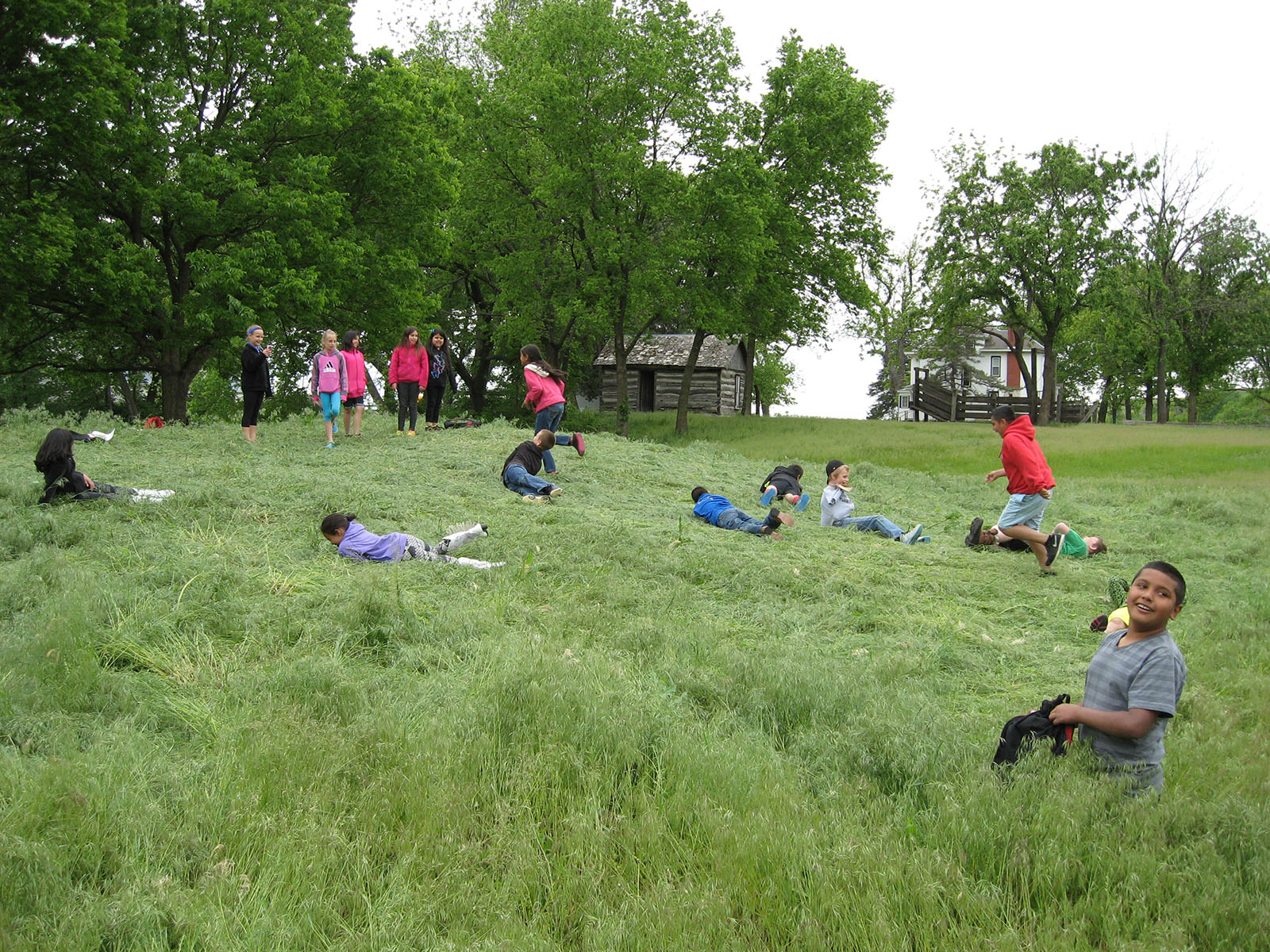 Youth Day at Pioneer Bluffs, children rolling and playing in the grass
