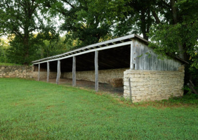 Hay barn created of limestone and wood
